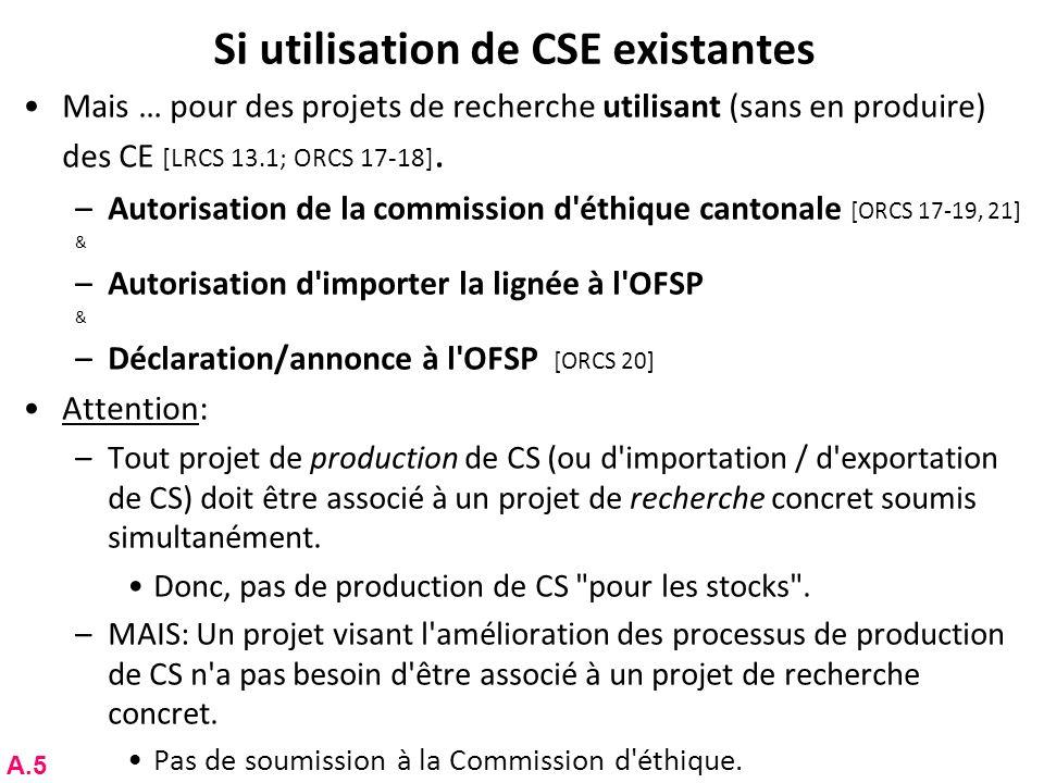 Si utilisation de CSE existantes Mais … pour des projets de recherche utilisant (sans en produire) des CE [LRCS 13.1; ORCS 17-18]. –Autorisation de la
