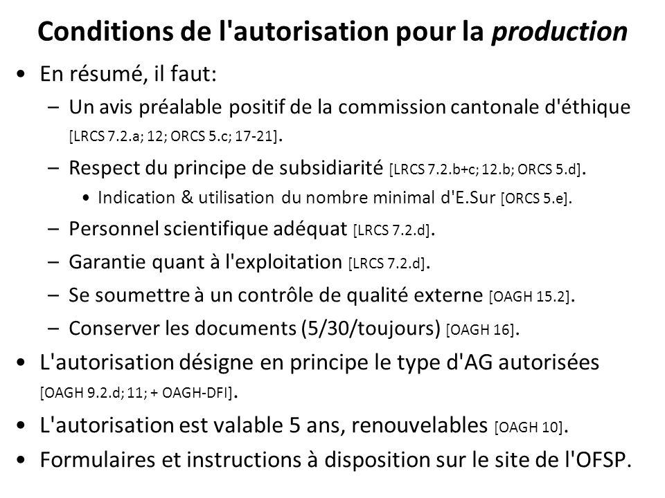Conditions de l'autorisation pour la production En résumé, il faut: –Un avis préalable positif de la commission cantonale d'éthique [LRCS 7.2.a; 12; O