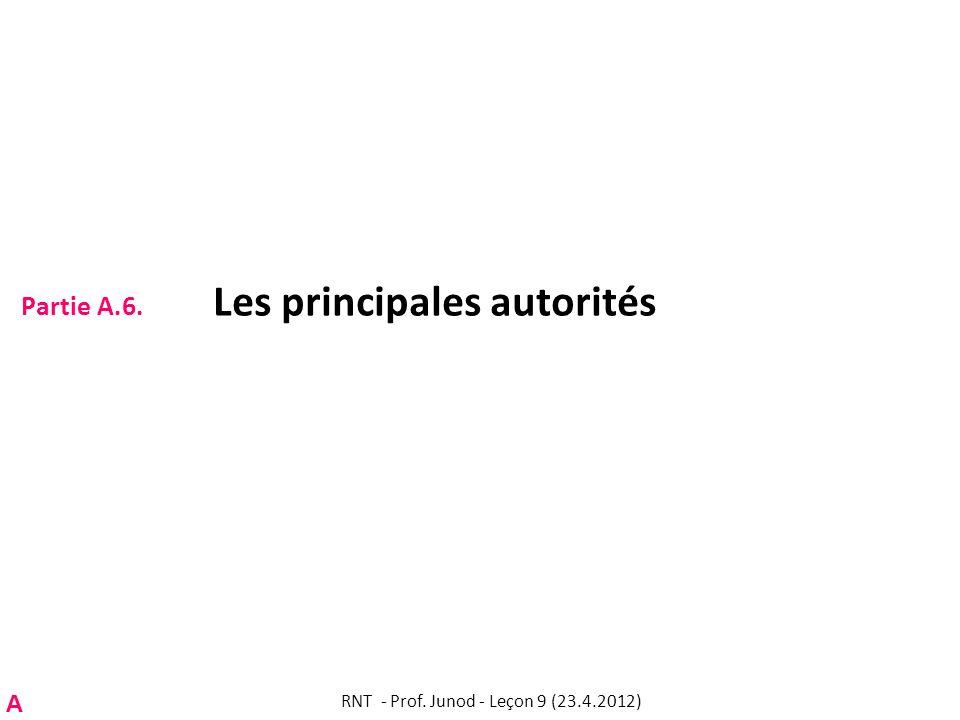Partie A.6. Les principales autorités RNT - Prof. Junod - Leçon 9 (23.4.2012) A