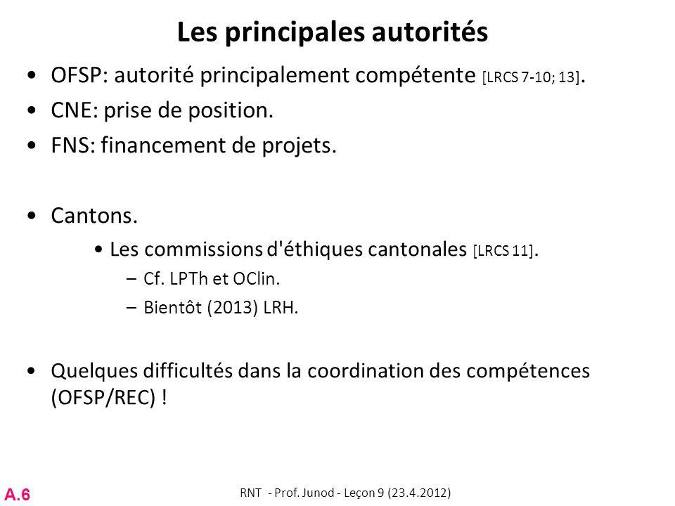 Les principales autorités OFSP: autorité principalement compétente [LRCS 7-10; 13]. CNE: prise de position. FNS: financement de projets. Cantons. Les