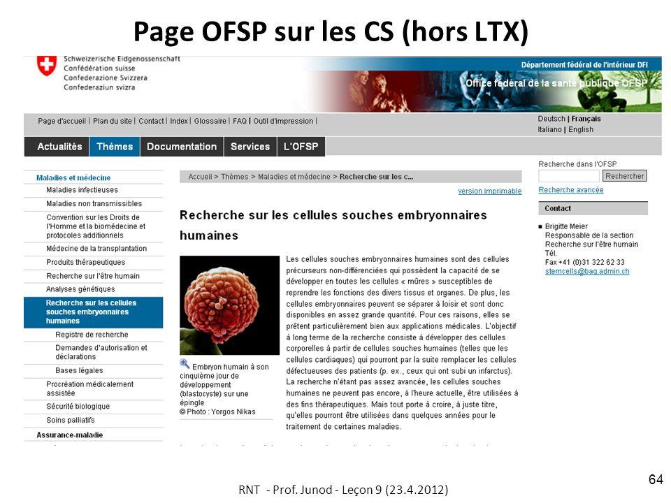 Page OFSP sur les CS (hors LTX) RNT - Prof. Junod - Leçon 9 (23.4.2012) 64