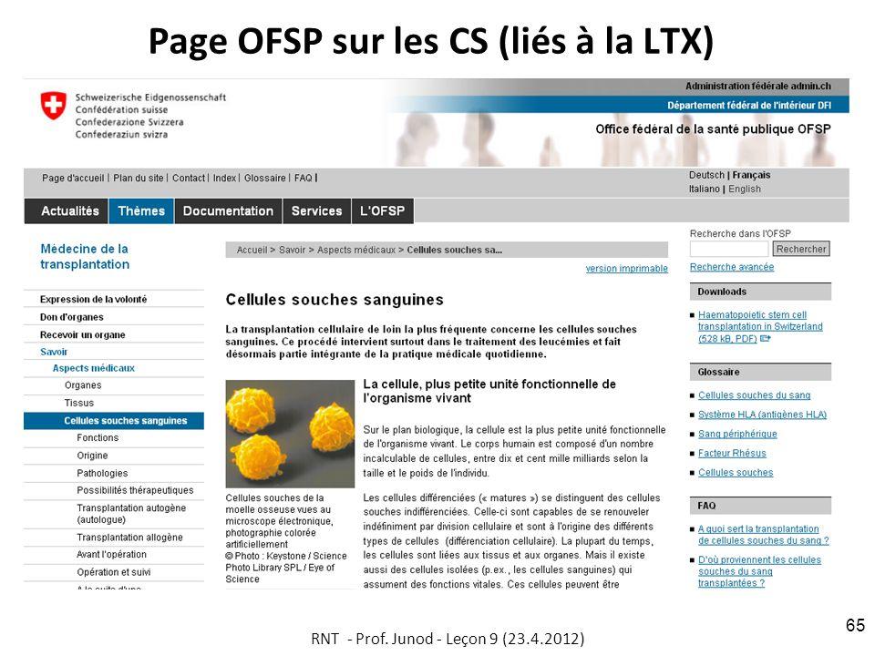 Page OFSP sur les CS (liés à la LTX) RNT - Prof. Junod - Leçon 9 (23.4.2012) 65