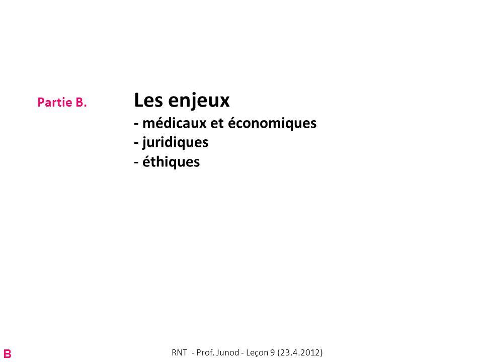 Partie B. Les enjeux - médicaux et économiques - juridiques - éthiques B RNT - Prof. Junod - Leçon 9 (23.4.2012)