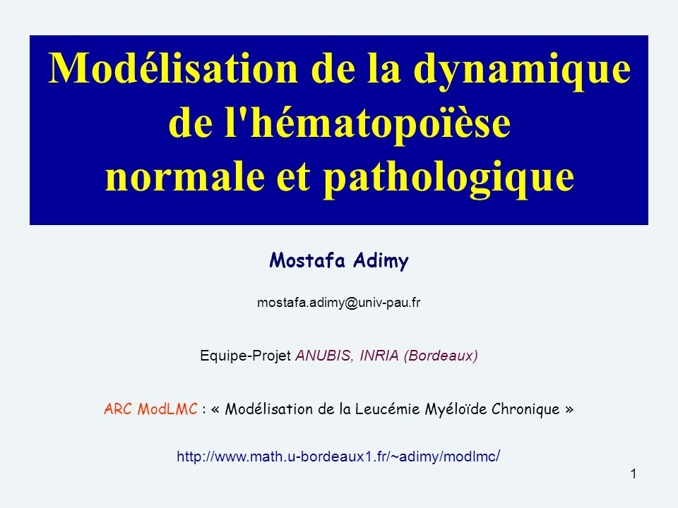 1 Modélisation de la dynamique de l hématopoïèse normale et pathologique Mostafa Adimy mostafa.adimy@univ-pau.fr Equipe-Projet ANUBIS, INRIA (Bordeaux) ARC ModLMC : « Modélisation de la Leucémie Myéloïde Chronique » http://www.math.u-bordeaux1.fr/~adimy/modlmc /