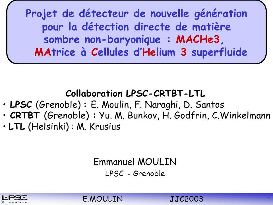 E.MOULIN JJC2003 1 Emmanuel MOULIN LPSC - Grenoble Collaboration LPSC-CRTBT-LTL LPSC (Grenoble) : E.