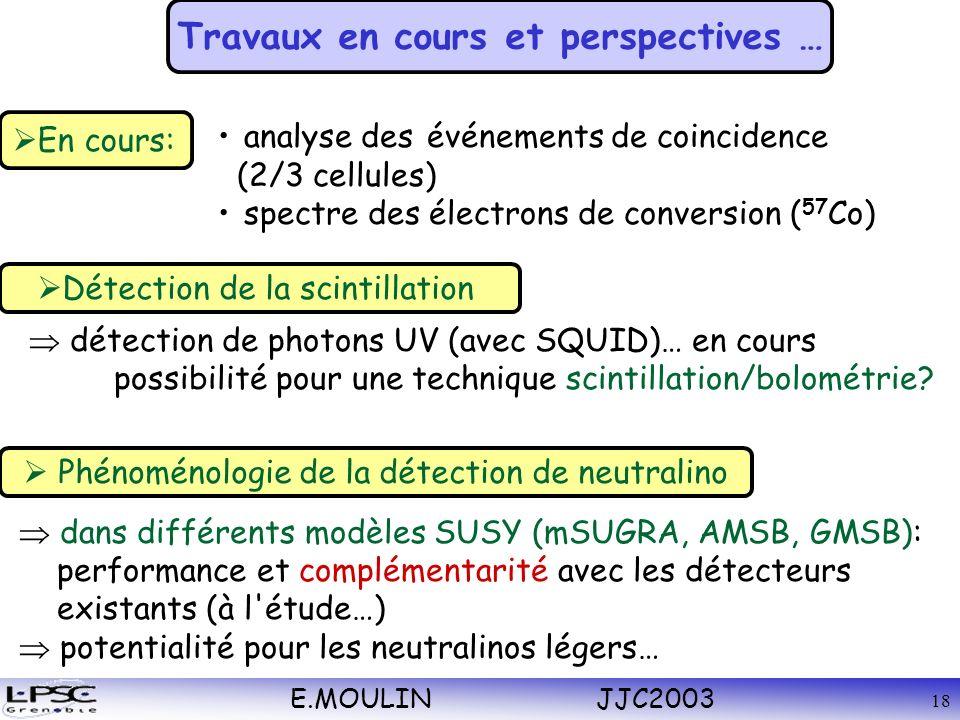 E.MOULIN JJC2003 18 détection de photons UV (avec SQUID)… en cours possibilité pour une technique scintillation/bolométrie.