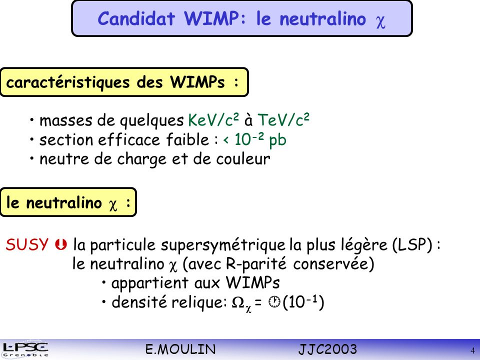 E.MOULIN JJC2003 4 masses de quelques KeV/c 2 à TeV/c 2 section efficace faible : < 10 -2 pb neutre de charge et de couleur caractéristiques des WIMPs