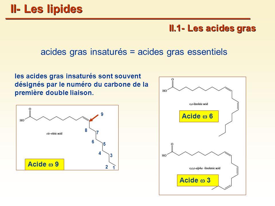les acides gras insaturés sont souvent désignés par le numéro du carbone de la première double liaison.
