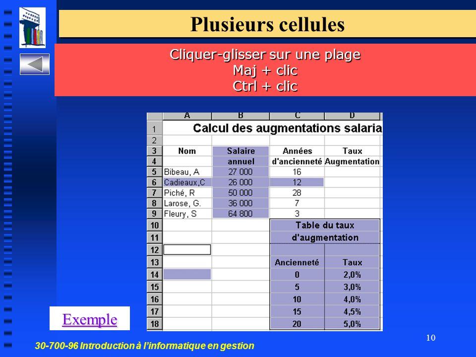 30-700-96 Introduction à linformatique en gestion 10 Plusieurs cellules Cliquer-glisser sur une plage Maj + clic Ctrl + clic Exemple