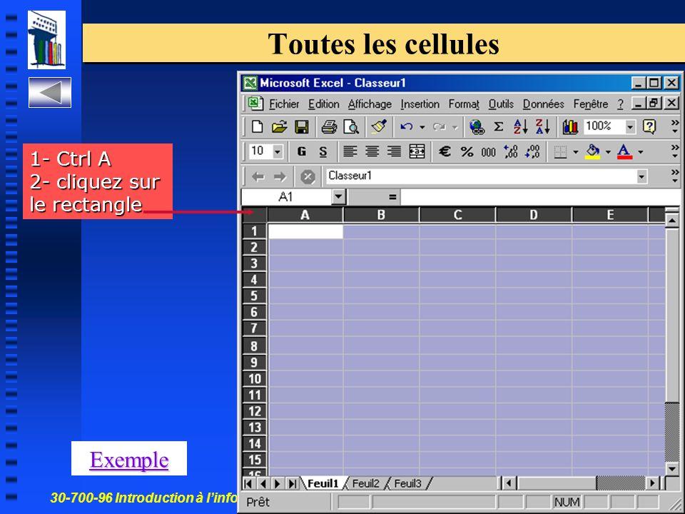30-700-96 Introduction à linformatique en gestion 11 Toutes les cellules Exemple 1- Ctrl A 2- cliquez sur le rectangle
