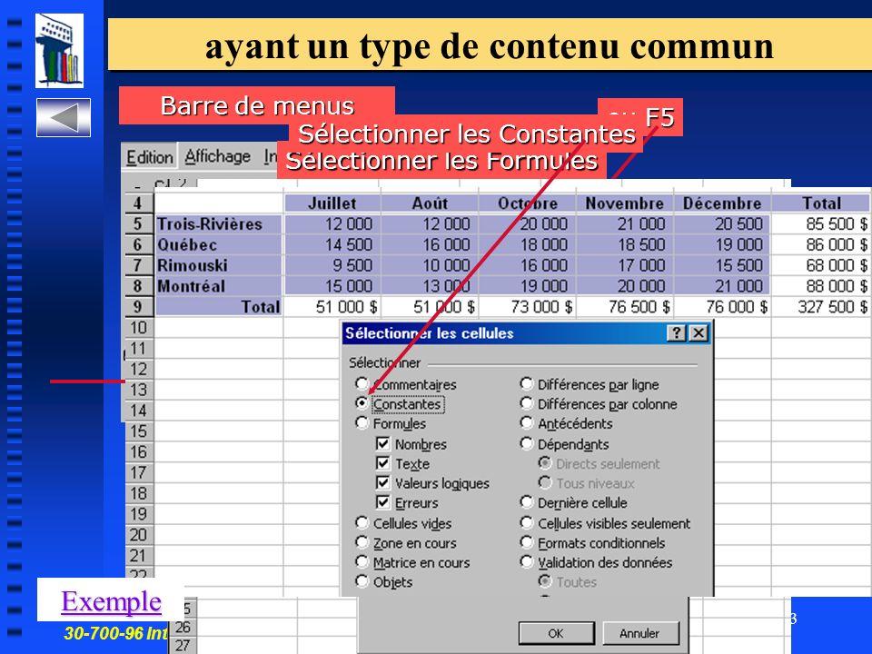 30-700-96 Introduction à linformatique en gestion 13 ayant un type de contenu commun ou F5 Barre de menus Sélectionner les Formules Sélectionner les Constantes Exemple
