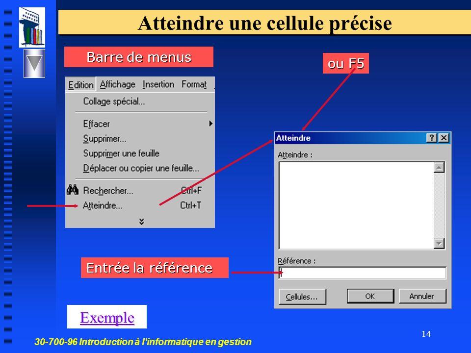 30-700-96 Introduction à linformatique en gestion 14 Atteindre une cellule précise ou F5 Barre de menus Exemple Entrée la référence