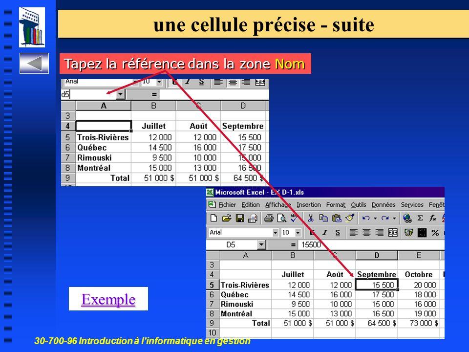 30-700-96 Introduction à linformatique en gestion 15 une cellule précise - suite Tapez la référence dans la zone Nom Exemple
