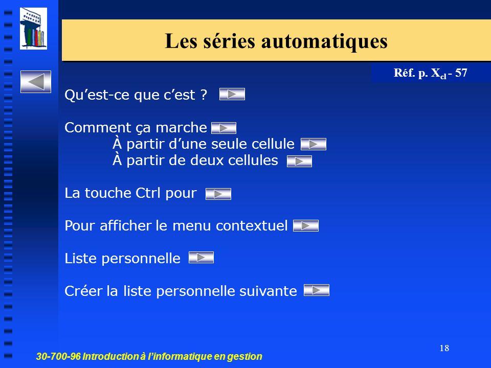 30-700-96 Introduction à linformatique en gestion 18 Les séries automatiques Réf.