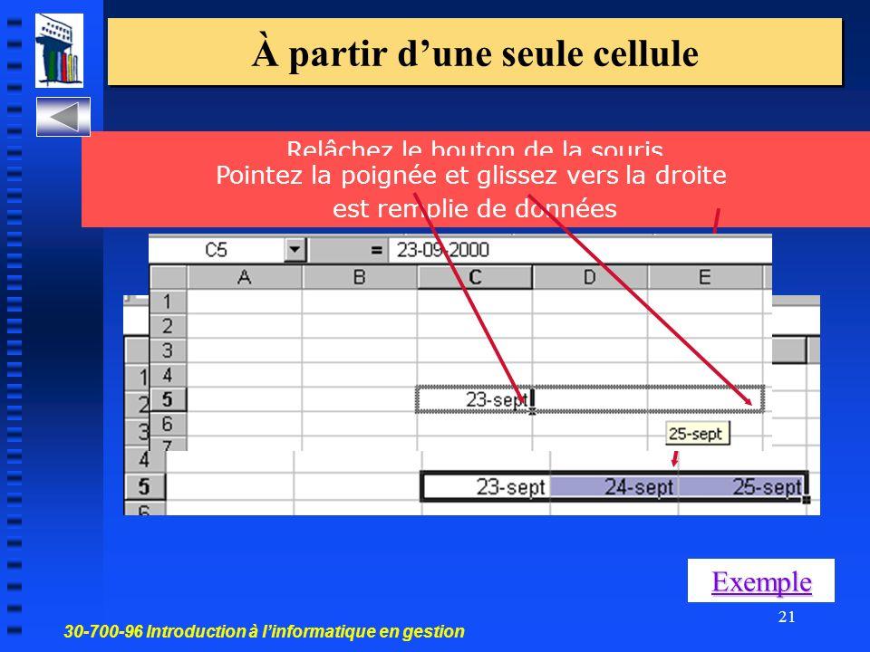 30-700-96 Introduction à linformatique en gestion 21 À partir dune seule cellule Relâchez le bouton de la souris la plage des cellules sélectionnées par le cadre grisé est remplie de données Pointez la poignée et glissez vers la droite Exemple