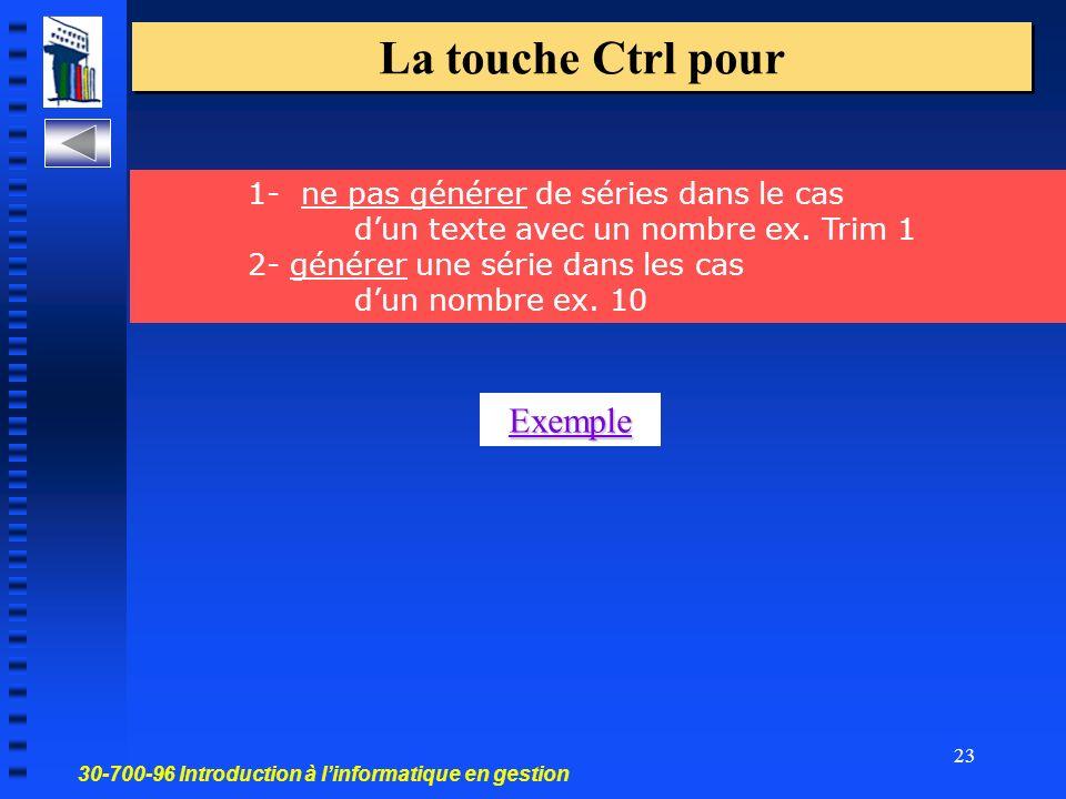 30-700-96 Introduction à linformatique en gestion 23 La touche Ctrl pour 1- ne pas générer de séries dans le cas dun texte avec un nombre ex.