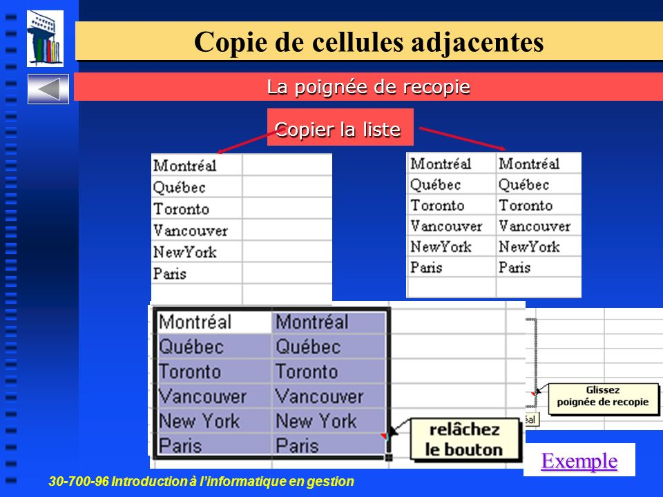30-700-96 Introduction à linformatique en gestion 29 Copie de cellules adjacentes Exemple Copier la liste La poignée de recopie
