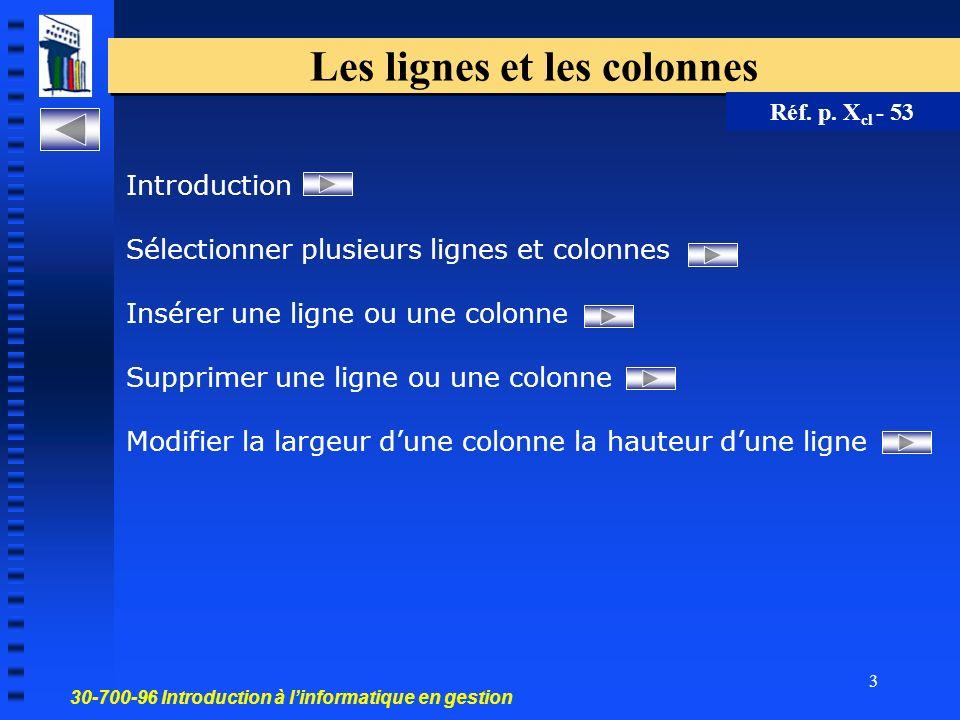 3 Les lignes et les colonnes Réf. p.