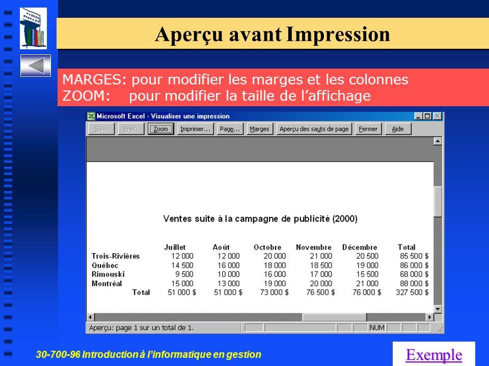 30-700-96 Introduction à linformatique en gestion 35 Aperçu avant Impression Exemple MARGES: pour modifier les marges et les colonnes ZOOM: pour modifier la taille de laffichage