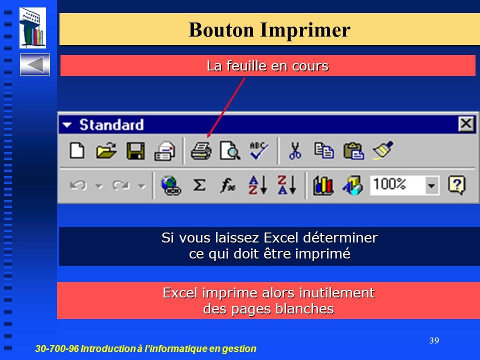 30-700-96 Introduction à linformatique en gestion 39 Bouton Imprimer La feuille en cours Si vous laissez Excel déterminer ce qui doit être imprimé Excel imprime alors inutilement des pages blanches