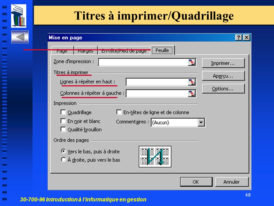 30-700-96 Introduction à linformatique en gestion 48 Titres à imprimer/Quadrillage