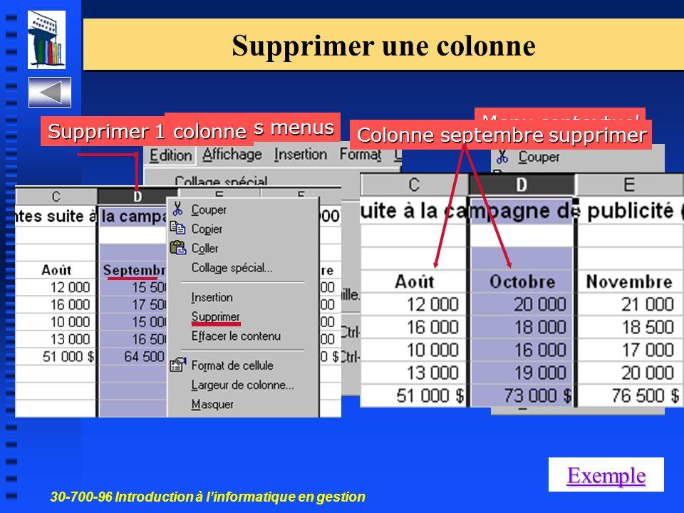 30-700-96 Introduction à linformatique en gestion 7 Supprimer une colonne Menu contextuel Barre des menus Colonne septembre supprimer Supprimer 1 colonne Exemple