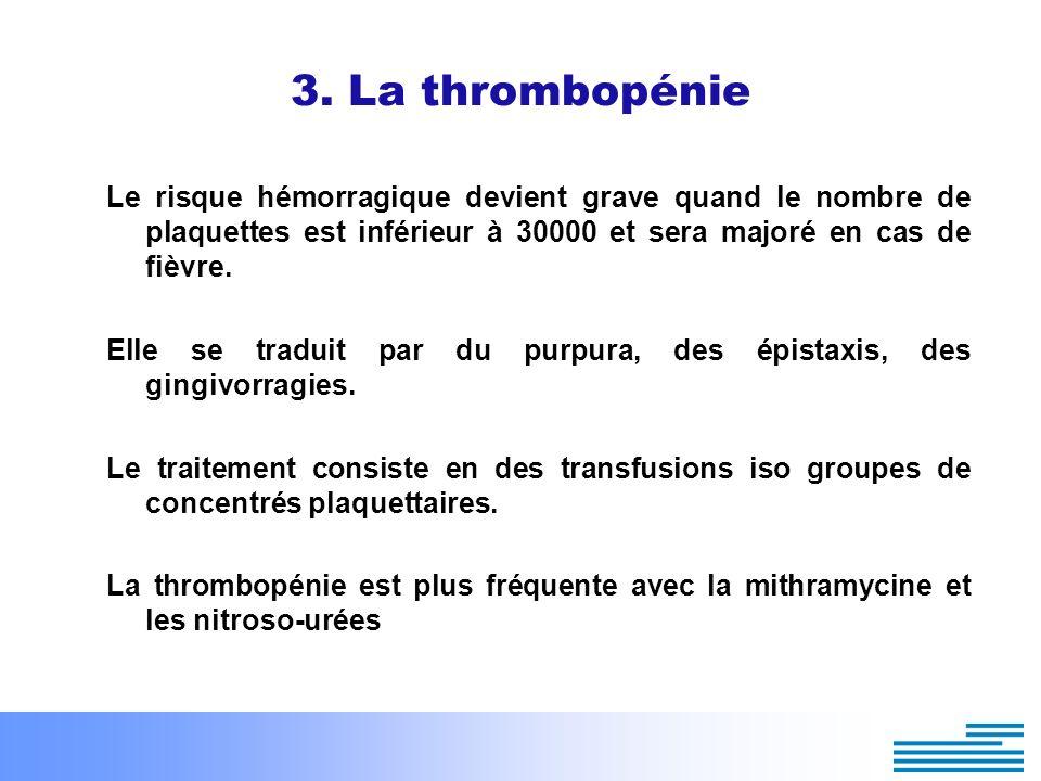 3. La thrombopénie Le risque hémorragique devient grave quand le nombre de plaquettes est inférieur à 30000 et sera majoré en cas de fièvre. Elle se t