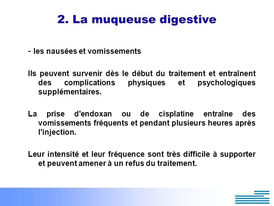 2. La muqueuse digestive - les nausées et vomissements Ils peuvent survenir dès le début du traitement et entraînent des complications physiques et ps