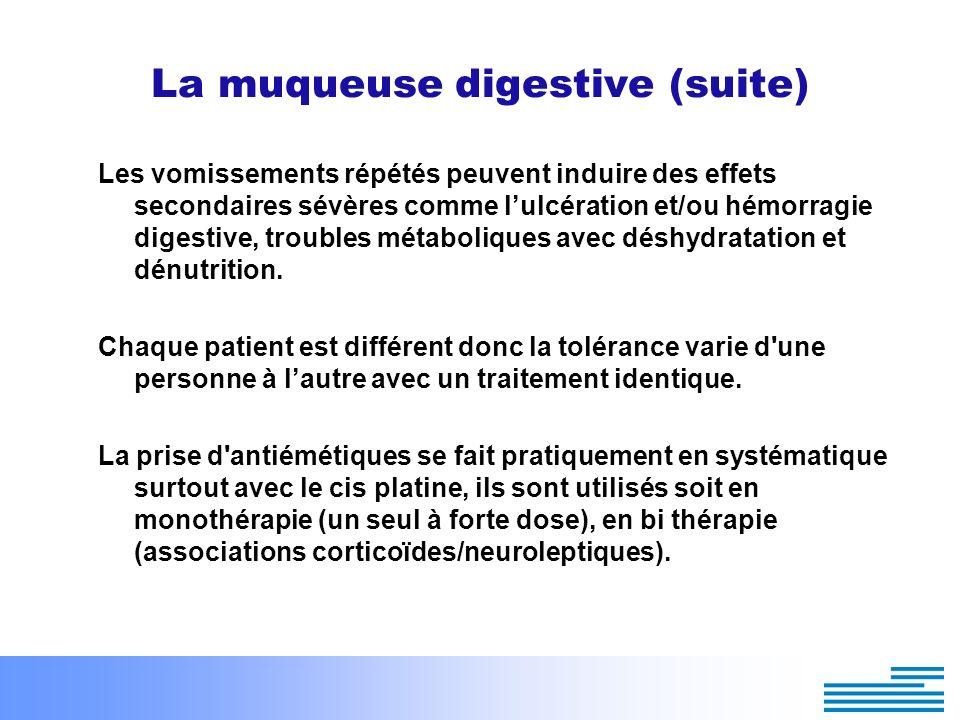 La muqueuse digestive (suite) Les vomissements répétés peuvent induire des effets secondaires sévères comme lulcération et/ou hémorragie digestive, tr