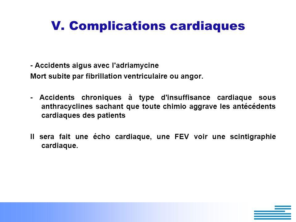 V. Complications cardiaques - Accidents aigus avec l'adriamycine Mort subite par fibrillation ventriculaire ou angor. - Accidents chroniques à type d'