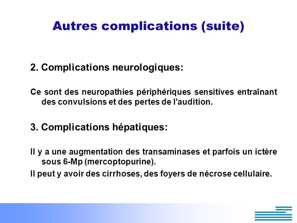 Autres complications (suite) 2. Complications neurologiques: Ce sont des neuropathies périphériques sensitives entraînant des convulsions et des perte