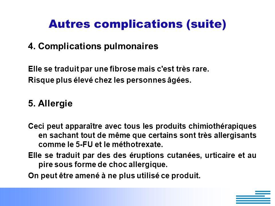 Autres complications (suite) 4. Complications pulmonaires Elle se traduit par une fibrose mais c'est très rare. Risque plus élevé chez les personnes â