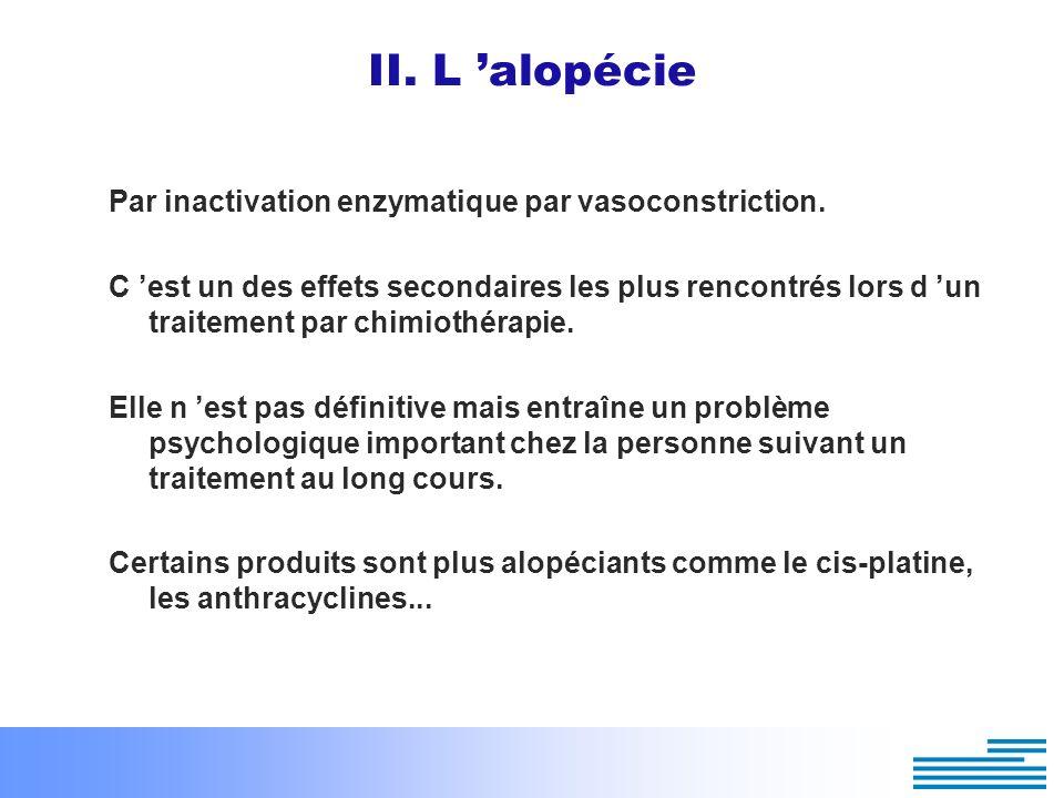 II. L alopécie Par inactivation enzymatique par vasoconstriction. C est un des effets secondaires les plus rencontrés lors d un traitement par chimiot