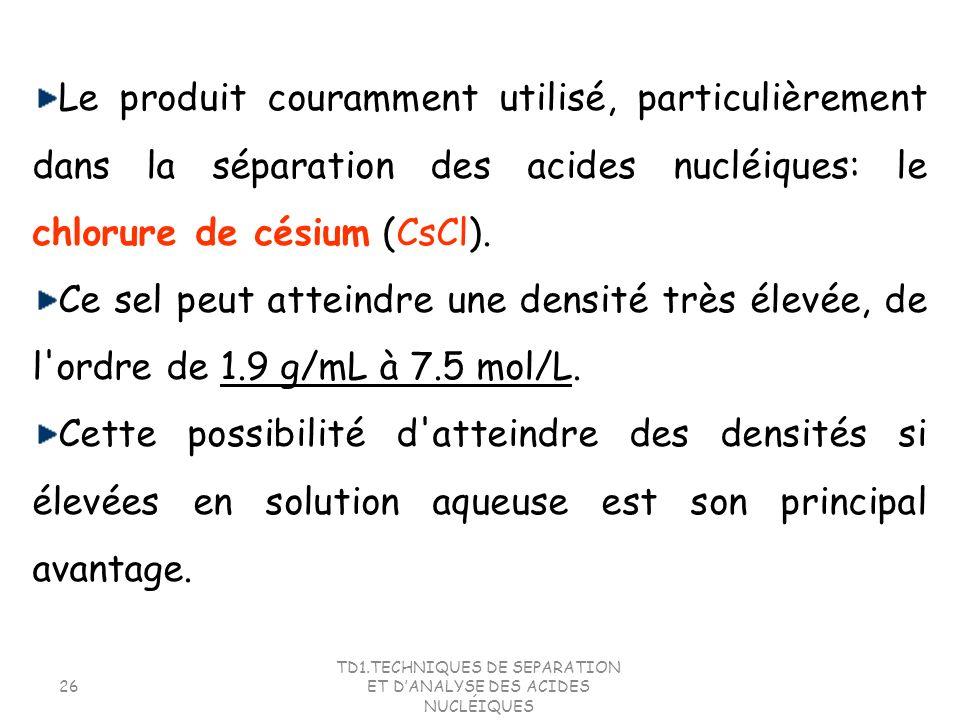 TD1.TECHNIQUES DE SEPARATION ET DANALYSE DES ACIDES NUCLÉIQUES 26 Le produit couramment utilisé, particulièrement dans la séparation des acides nucléi