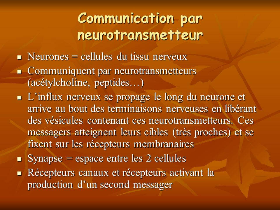 Communication par neurotransmetteur Neurones = cellules du tissu nerveux Neurones = cellules du tissu nerveux Communiquent par neurotransmetteurs (acétylcholine, peptides…) Communiquent par neurotransmetteurs (acétylcholine, peptides…) Linflux nerveux se propage le long du neurone et arrive au bout des terminaisons nerveuses en libérant des vésicules contenant ces neurotransmetteurs.