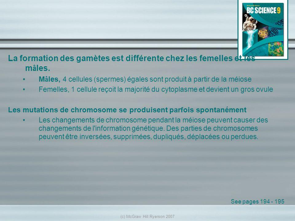 La formation des gamètes est différente chez les femelles et les m â les. M â les, 4 cellules (spermes) égales sont produit à partir de la méiose Feme