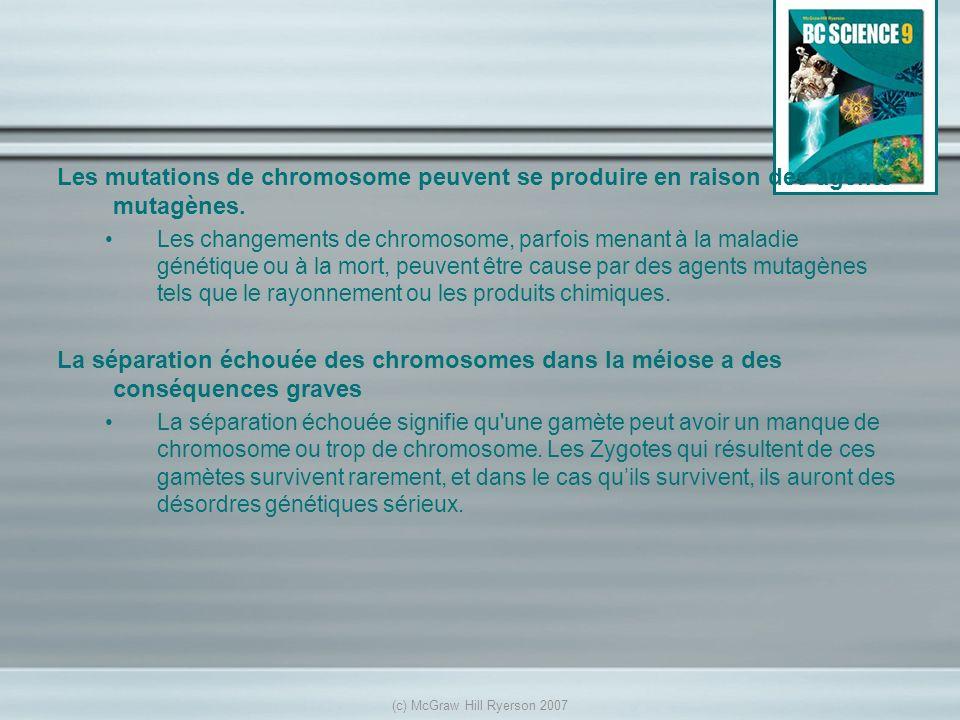 Les mutations de chromosome peuvent se produire en raison des agents mutagènes. Les changements de chromosome, parfois menant à la maladie génétique o