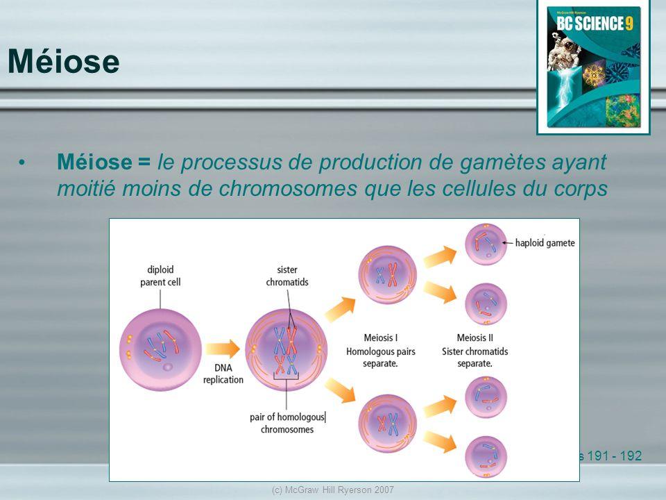 Méiose Méiose = le processus de production de gamètes ayant moitié moins de chromosomes que les cellules du corps See pages 191 - 192