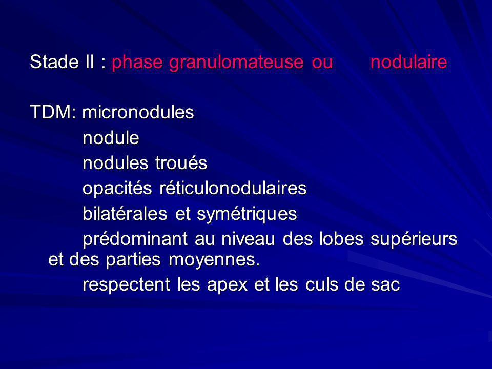 Stade II : phase granulomateuse ou nodulaire TDM: micronodules nodule nodule nodules troués nodules troués opacités réticulonodulaires opacités réticu