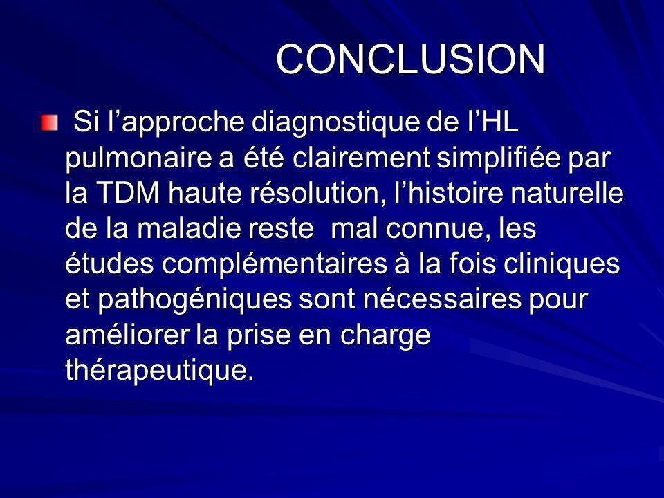CONCLUSION CONCLUSION Si lapproche diagnostique de lHL pulmonaire a été clairement simplifiée par la TDM haute résolution, lhistoire naturelle de la m