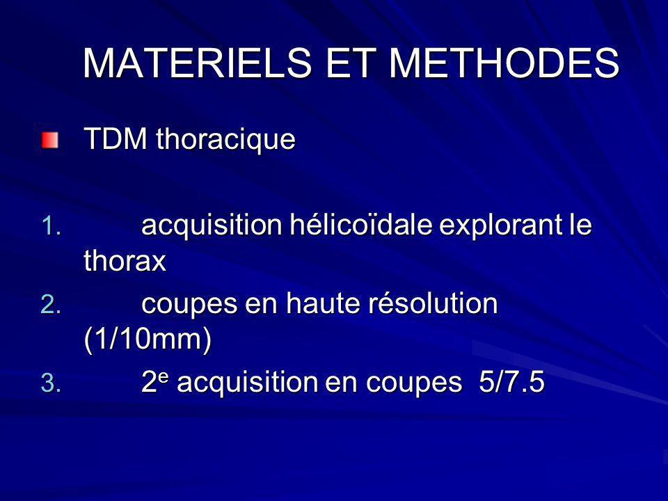 MATERIELS ET METHODES MATERIELS ET METHODES TDM thoracique 1. acquisition hélicoïdale explorant le thorax 2. coupes en haute résolution (1/10mm) 3. 2