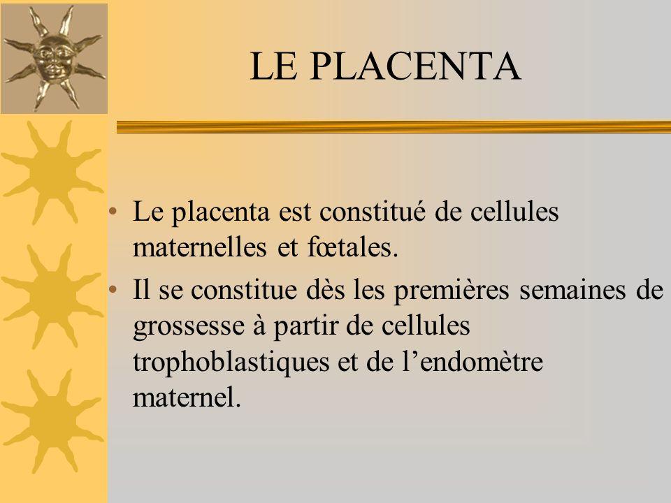 LE PLACENTA Le placenta est constitué de cellules maternelles et fœtales. Il se constitue dès les premières semaines de grossesse à partir de cellules