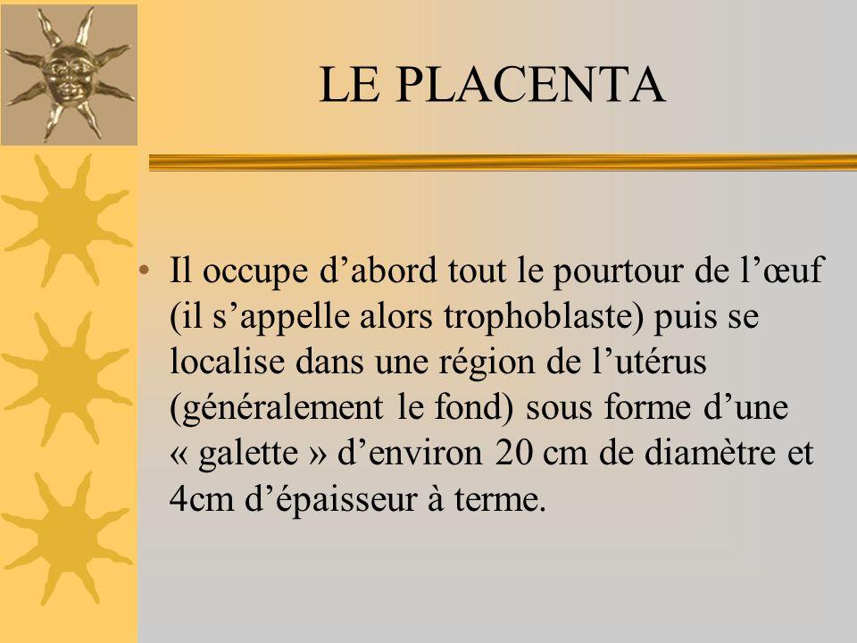 LE PLACENTA Il occupe dabord tout le pourtour de lœuf (il sappelle alors trophoblaste) puis se localise dans une région de lutérus (généralement le fond) sous forme dune « galette » denviron 20 cm de diamètre et 4cm dépaisseur à terme.