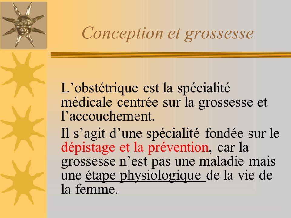 Conception et grossesse Lobstétrique est la spécialité médicale centrée sur la grossesse et laccouchement.