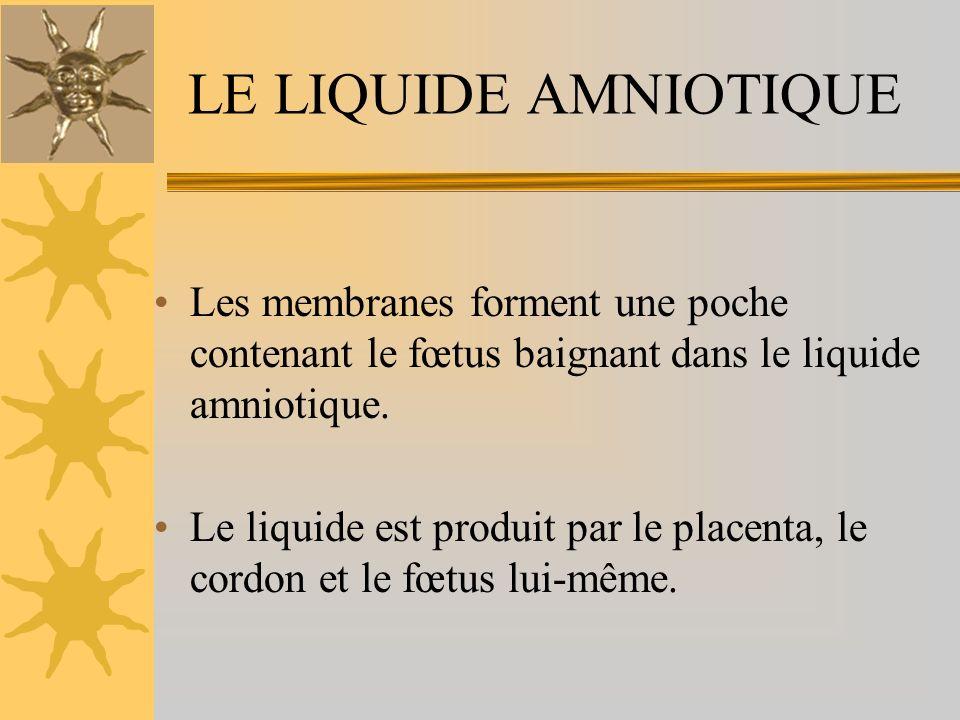 LE LIQUIDE AMNIOTIQUE Les membranes forment une poche contenant le fœtus baignant dans le liquide amniotique. Le liquide est produit par le placenta,
