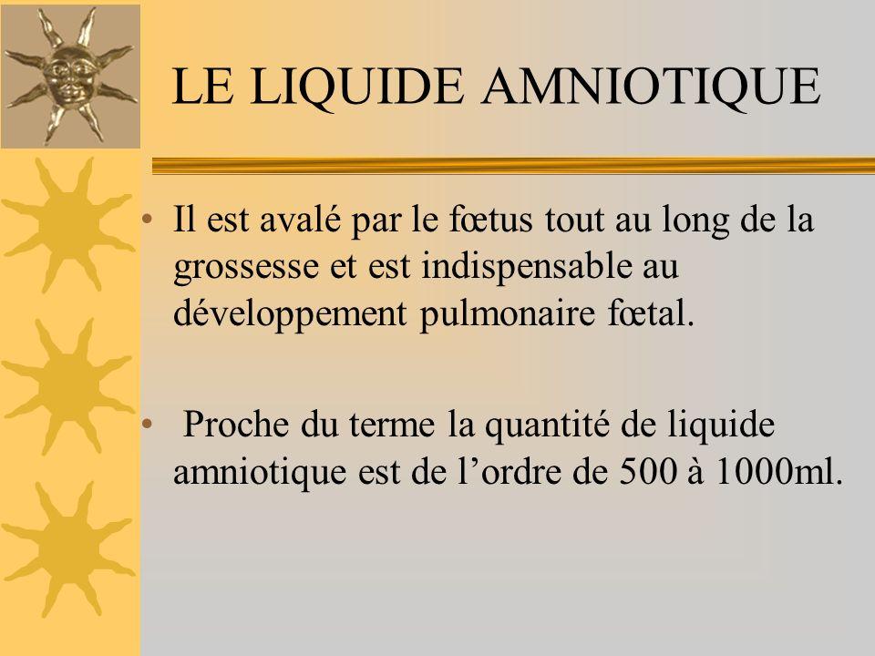Il est avalé par le fœtus tout au long de la grossesse et est indispensable au développement pulmonaire fœtal. Proche du terme la quantité de liquide