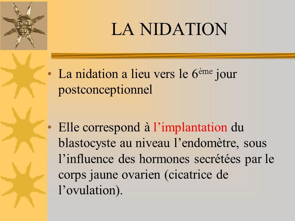 LA NIDATION La nidation a lieu vers le 6 ème jour postconceptionnel Elle correspond à limplantation du blastocyste au niveau lendomètre, sous linfluen