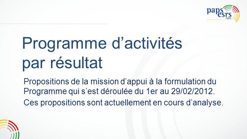 Programme dactivités par résultat Propositions de la mission dappui à la formulation du Programme qui sest déroulée du 1er au 29/02/2012. Ces proposit
