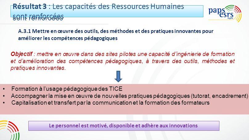 Résultat 3 : Les capacités des Ressources Humaines sont renforcées A.3.1 Mettre en œuvre des outils, des méthodes et des pratiques innovantes pour amé