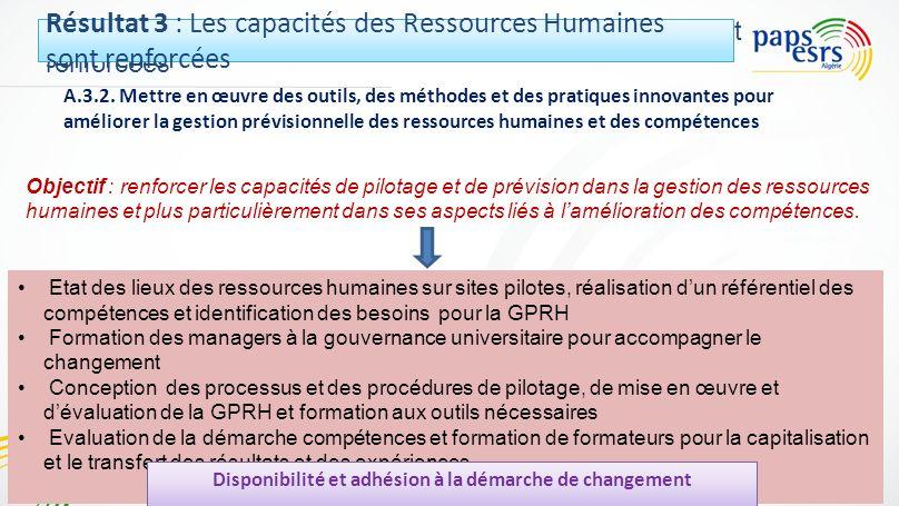 Résultat 3 : Les capacités des Ressources Humaines sont renforcées A.3.2. Mettre en œuvre des outils, des méthodes et des pratiques innovantes pour am